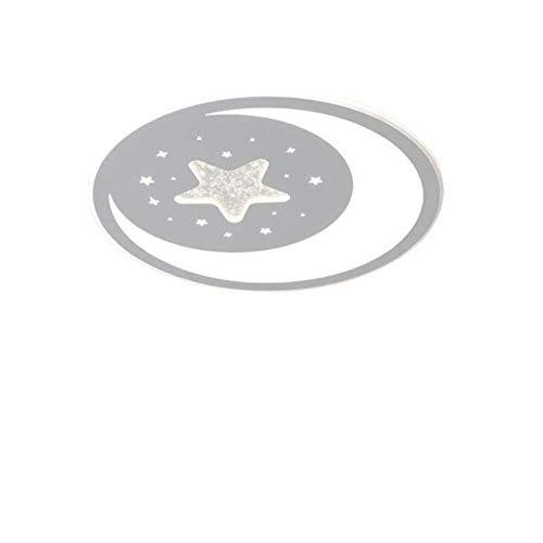 Lámpara de techo ultradelgada, lámpara LED de techo con estrellas y luna, para habitación de los niños, lámpara de pared sencilla, luz blanca decorativa D53 x 5,5 cm/33 W.