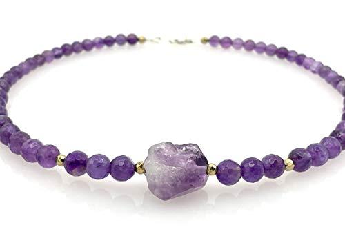 Collar de plata 925 y amatista viola, joyas artesanales de piedras naturales, estilo contemporaneo, regalo para ella