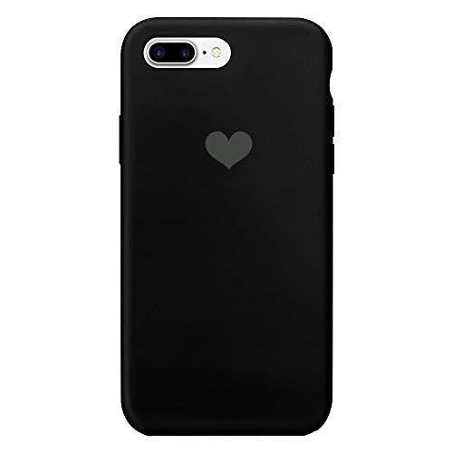 Croachi iPhone 8 Plus Funda,iPhone 7 Plus Case Carcasa Silicona TPU Transparente Anti-arañazos Móvil Backcover Bumper 360 Pink Marmol Forma de Amor Trumblr Leather White (Negro, iPhone 7 Plus)