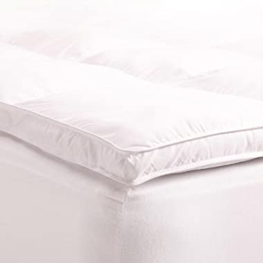 Superior Queen Mattress Topper, Hypoallergenic White Down Alternative Featherbed Mattress Pad - Plush, Overfilled, and 2  Thick