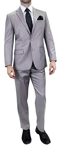 Men's 3-Piece Suit 2 Buttons Slim Fit Solid Color Jacket Smart Wedding Formal Suit, Navy, Medium