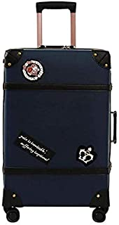 """Student Trolley Case British Campus Style Zipper Suitcase TSA Lock High Capacity 28""""(FM),Blue,26inches"""