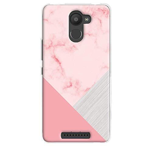 Funnytech® Funda Silicona para BQ Aquaris U Plus [Gel Silicona Flexible, Diseño Exclusivo] Textura marmol Rosa Combinado