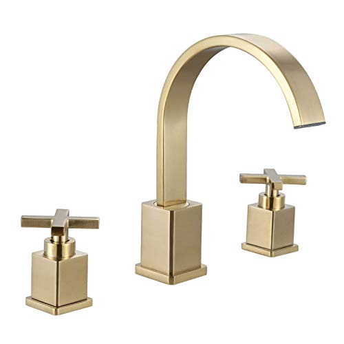 Grifo de lavabo en cascada dorado cepillado, grifo de baño de 2 manijas y 3 agujeros, grifo de lavabo de baño montado en la cubierta, grifo mezclador de agua fría caliente