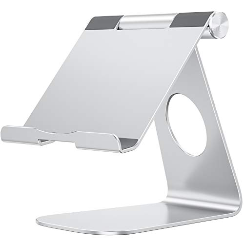 OMOTON Supporto Tablet Regolabile, Porta Tablet, Dock da Tavolo per Corsi Online e Video, Universale Stand in Alluminio per iPad Air 4, iPad 8, PRO 12.9, Samsung Galaxy Tab, Altri Tablet, Argento