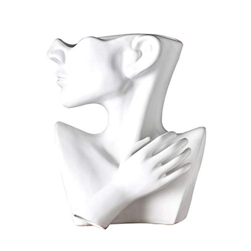 XinLuMing Indoor Outdoor Statue Planter, Ceramic Bust Head Statue Planters Pots Home Garden Decor Sculpture Flower Vase Bonsai Art (Color : White)