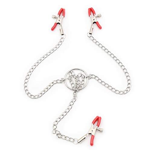 Bracelet en acier inoxydable de luxe rouge, métal 3 pinces de tête chaîne Costume femmes auto-divertissement chaîne pinces accessoires outils de massage