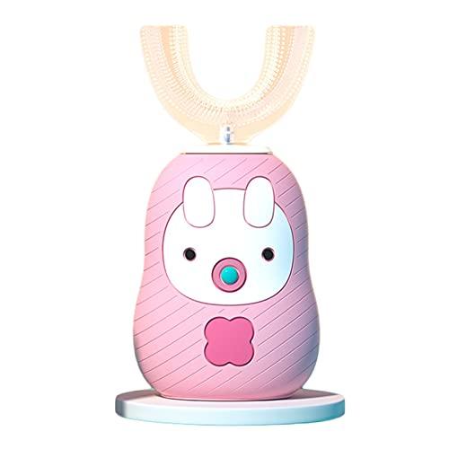 Cepillo de dientes para niños de 2 a 6 años, con cerdas suaves eléctricas en forma de U recargable, inteligente automático bebé en forma de U cepillado rosa