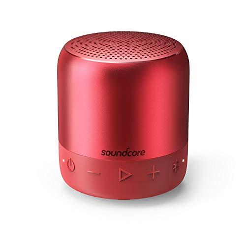 Soundcore Mini 2 Bluetooth Lautsprecher mit Wasserschutzklasse IPX7, 15-Stunden-Spielzeit, 20 Meter Bluetooth Reichweite und Starkem Bass (Rot)