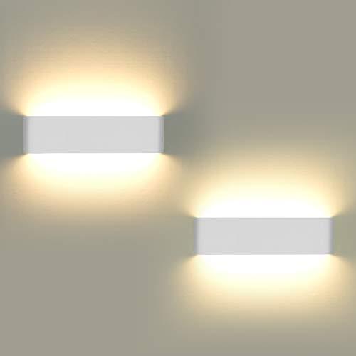 Lampade da parete per interni, 2 pezzi Applique da parete 12W LED Luci su e giù Lampada da parete moderna per soggiorno Balcone Portico per scale, Luce bianca calda