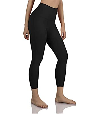 """ODODOS Women's 19""""/ 23"""" /27"""" High Waist Tummy Control Workout Yoga Running Compression Exercise Leggings with Inner Pockets,Black,X-Large"""