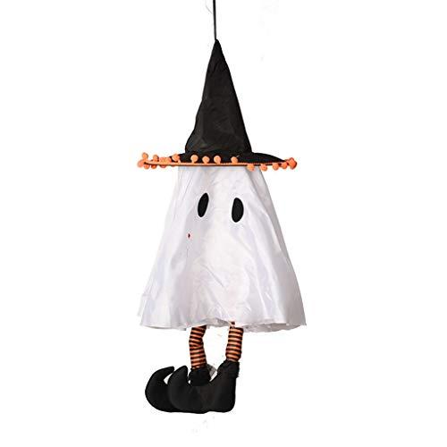 milkcha Electric White Ghost Halloween Decorations, Halloween Voice Control Black Pole Hanging Spirit Venue Decoration Set Pendant