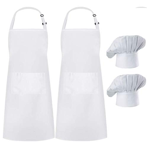 Hyzrz 2 Pack Apron Chef Hat Set, Adjustable Black Bib Cooking Aprons Water Drop Resistant Elastic Baker Kitchen Cooking Chef Cap Women Men Chef (White)