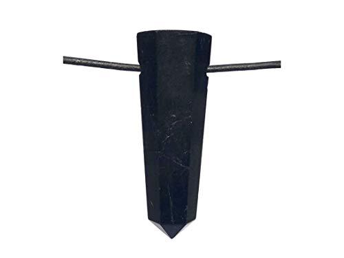 MKöpke® - schwarzer Turmalin Schörl - Spitze gebohrt - Edelstein Anhänger mit Lederband
