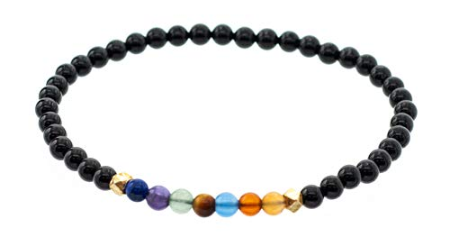 Chakra Stretch Bracelet with Smooth 4 mm Black Onyx Beads, 7.5'
