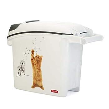 CURVER   Conteneur à croquettes empilable 15L/6Kg love pets Chat, Blanc, 23,2 x 50,3 x 35,5 cm, Plastique