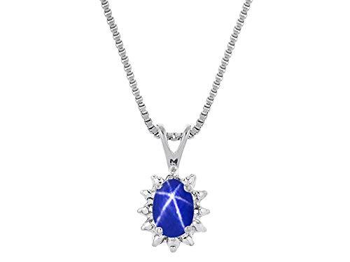 RYLOS Simply Elegant Beautiful Blue Star Sapphire & Diamond Pendant Necklace - September Birthstone