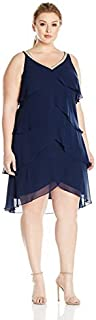 S.L. Fashions Women's Size Sleeveless Beaded Vneck Chiffon Tier Dress Plus