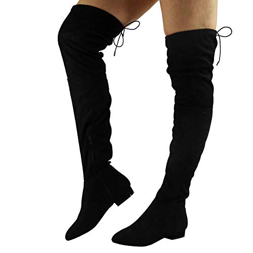 Womens Ladies Thigh High Over The Knee Low Heel Flat Lace Up Boots Shoes Size 7