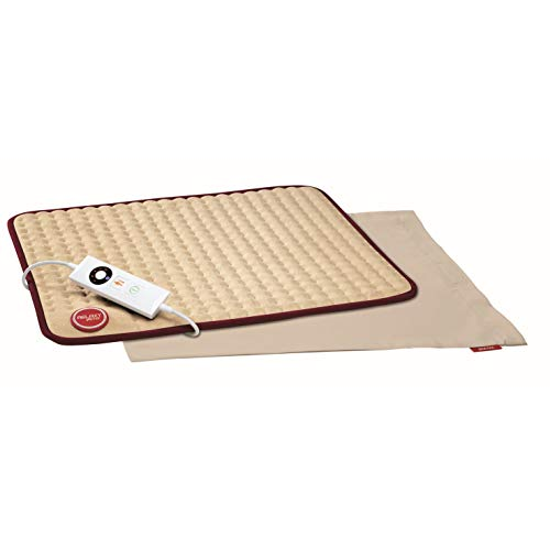 Imetec Relaxy IntelliSense HP-02 - Almohadilla térmica, 15 W, máximo 110 W, espalda, hombros, barriga y piernas, color beige y burdeos (16058)