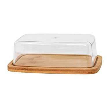 Bamboo Butter Serving Dish, Cutting Board Serving Tray with Clear Acrylic Cover - by Home-X