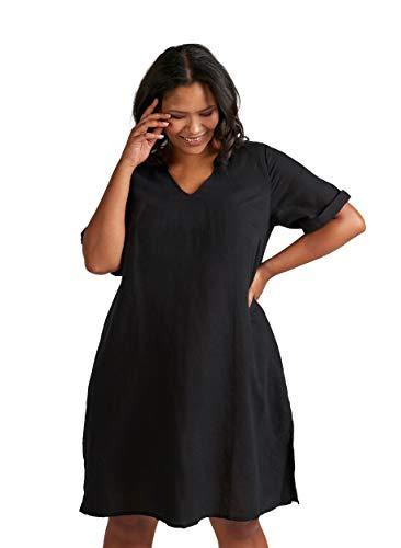 Linnen jurk Narciss Zizzi maat:42-44 kleur Black