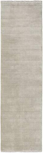 CarpetVista Alfombra Handloom Fringes, Pelo Corto, 80 x 250 cm, Pasillo, Moderna, Lana, Corredor, Cocina, Salón, Comedor, Gris