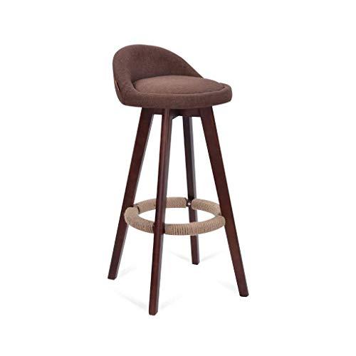 QQXX barkruk, massief hout rotatie ontbijt stoel kruk linnen zitvoetsteun rug barkruk met houten poten (kleur: bruin, Maat: zithoogte 63cm) 1 1
