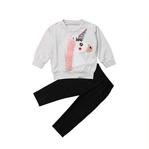 Ensemble 2 Pièces Bébé Fille/Fillette Pantalon et Haut Sweat-Shirt à Manches Longues avec 3D Licorne Imprimé