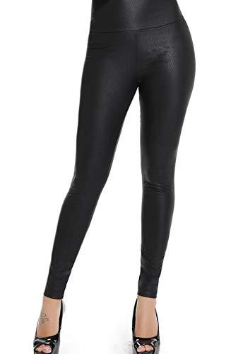 FITTOO Mujeres PU Leggins Cuero Brillante Pantalón Elásticos Pantalones para Mujer300#2 Negro Serpiente XS