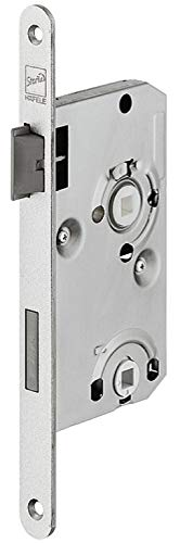 JUVA Einstemmschloss Zimmertür Einsteckschloss 78 mm mit Flüster-Falle - H10402 | WC - Badezimmer | Zimmertür-Schloss für DIN-Links Türen | MADE IN GERMANY | 1 Stück - Türschloss silber für Toiletten