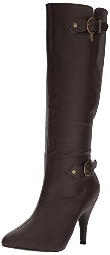 Pleaser Pink Label Women's Dre2030/Bnpu Boot, Brown Faux Leather, 14 M US