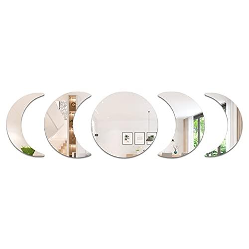 5 pegatinas de pared acílico de espejo de fase lunar, pegatinas de espejo de pared estilo bohemio, decoraciones de arte autoadhesivas para dormitorio sala de estar ⭐