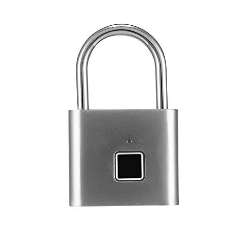 Merymall Fingerabdruck Vorhängeschloss, Smart, wasserfest, Diebstahlschutz, Schlüsselloses Schloss mit USB-Ladefunktion, geeignet für Haustür, Schule, Fitnessstudio, Rucksack, Koffer, Schrank, Büro