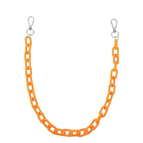 Soimis - Pantalón punk naranja con cadena, bolso de mano, bricolaje, correa de plástico para damas, bolso de...