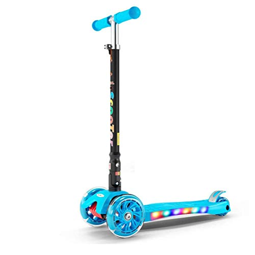 TYUXINSD Kids Toys Didiwei Kid Scooter 2-16Y Altura Ajustable Niños Plegables Balance Bike Light Flash Baby Ride en Regalo de Juguete para niña (Color: Fresh Street Dance) (Color : Blue World)