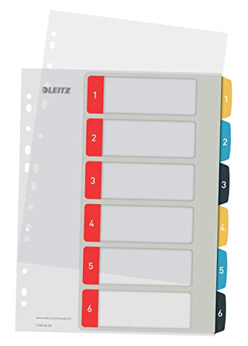 Leitz PC-beschriftbares Register in A4 Format, 1-6, Robust, Mehrfarbig, Cosy-Serie, 12460000