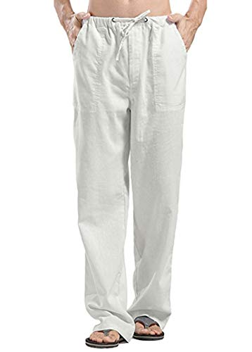 COOFANDY Herren Sommerhose Lang Leinen aus Baumwollmischung Casual Strandhose Groß Seitetasche Regular Fit mit Band Weiß XXL