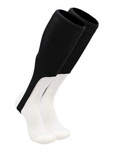 TCK Sports Solid Color 9 Baseball Softball Stirrup Socks, Black, Large