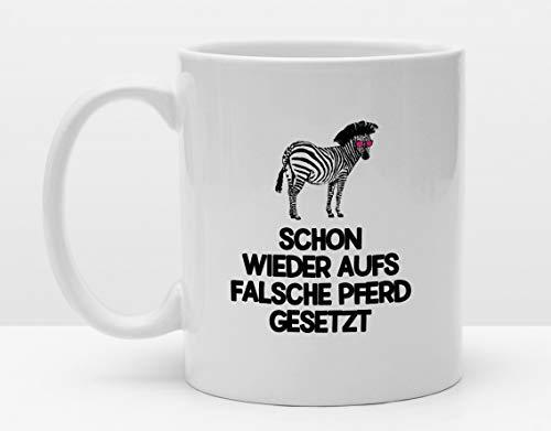 Spruch Tasse | Falsches Pferd | Cooler Becher | Kaffeetasse | Bedruckt mit Motiv | Zebra | Lustige Tiere | Leben Humor | Verschenken | Fun