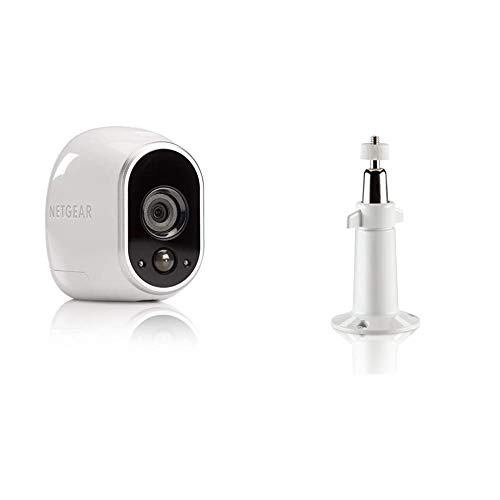 Arlo HD Überwachungskamera & Alarmanlage, Zusatzkamera, Smart Home, kabellos & Verstellbare Innen/Außen Halterung (geeignet für Arlo HD, Pro und Pro 2 kabellose Überwachungskamera) weiß/Silber
