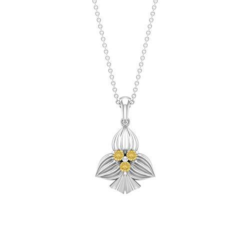 Collar con colgante de citrino en forma redonda de 2,5 mm, piedra natal de noviembre, collar con colgante de tres piedras, colgante de pala dorada amarillo