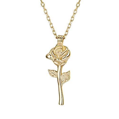 Collares de Dama y Mujer - Clearine Colgante Mujer Plata 925 Forma Rosa Flor Precioso para Novia Boda Fiesta Dorado