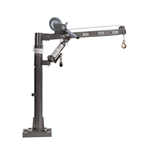 Hydraulic Mounted Crane with Cable Winch Pickup Truck Lift 1/2Ton,1100 Lb.