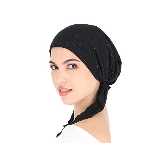 Pretied Head Scarves For Women Featuring A Unique Sparkly Foil Finish And Stretchy Ribbed Fabric By Madison Headwear (Black/Multi)