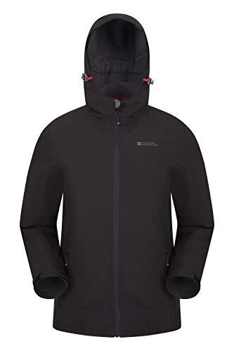 Mountain Warehouse Veste Softshell Reykjavik Hommes - Manteau résistant à l'eau, Ajustement réglable, protège-Menton, Manteau Respirant - Marche, Usage Quotidien Noir S