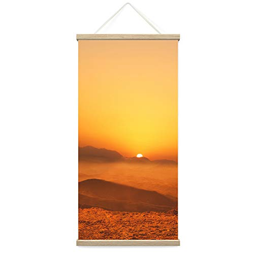 "Bestdeal Depot Hanging Poster Ocean Sunset VIII Coastal Orange Photography Relax/Calm Romantics Sunset Warm Canvas Prints Wall Art for Living Room, Bedroom - 18""x36"""