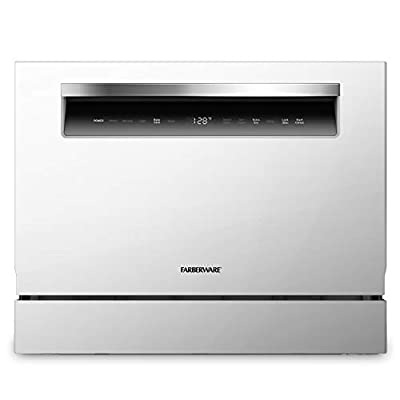 Farberware FCD06ASSWHB Countertop Dishwasher, 6 Piece, White with Chrome Handle