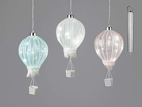 formano set van 3 LED decoratieve hangers ballonnen met timer H. 23 cm wit roze blauw F20