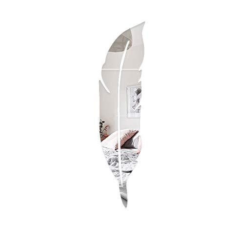 Pegatinas de pared de espejo 3D para decoración de habitación, con forma de pluma, autoadhesivas, acrílicas, no vidrieras, para decoración de pared, decoración para el hogar, dormitorio (derecha)